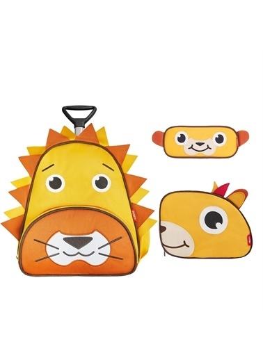 Zoozy Aslan Çekçekli Çanta Seti (Çekçekli Sırt Çanta-Beslenme Çantası-Kalemlik) Renkli